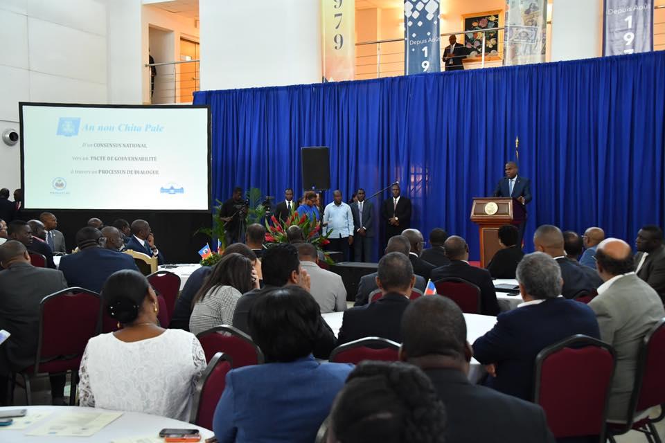 Lancement officiel, mardi 22 janvier, du dialogue national autour du pacte de gouvernabilité au Centre de la Convention de la BRH./Compte Facebook du PM