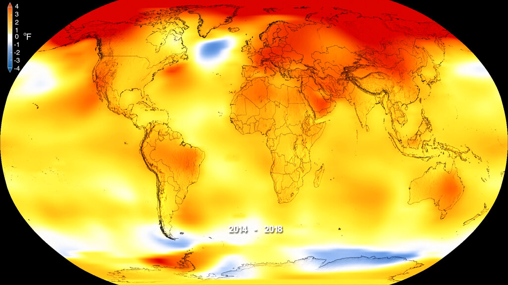 This map made available by NASA in February 2019 shows global surface temperature anomalies for 2014-2018.  (Kathryn Mersmann/NASA - Scientific Visualization Studio via AP)