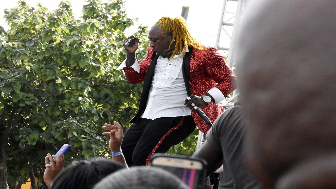 Elephant Man dances on stage during a performance at Rebel Salute in January 2018.