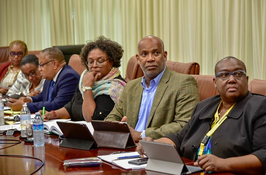 Prime Minister Mia Amor Mottley; also present are Minister of Foreign Affairs and Foreign Trade, Senator Dr. Jerome Walcott; Attorney General, Dale Marshall, and Permanent Secretary in the Prime Minister's Office, Alies Jordan. (GP)