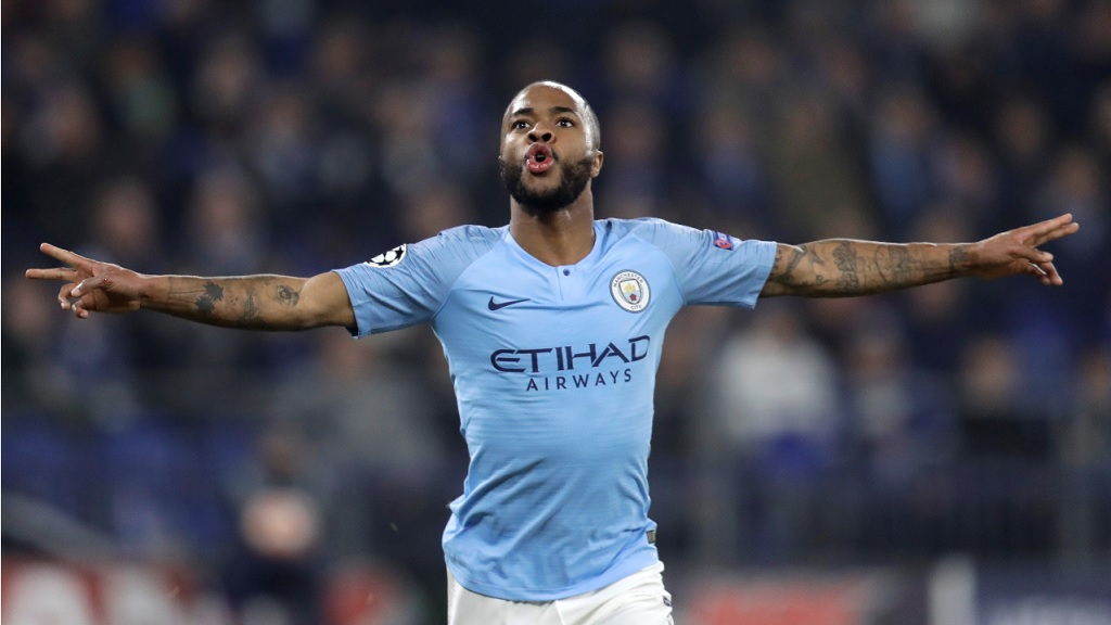 Manchester City forward Raheem Sterling celebrates scoring his side's third goal of the first leg, round of 16, Champions League football match against Schalke at Veltins Arena in Gelsenkirchen, Germany, Wednesday Feb. 20, 2019.