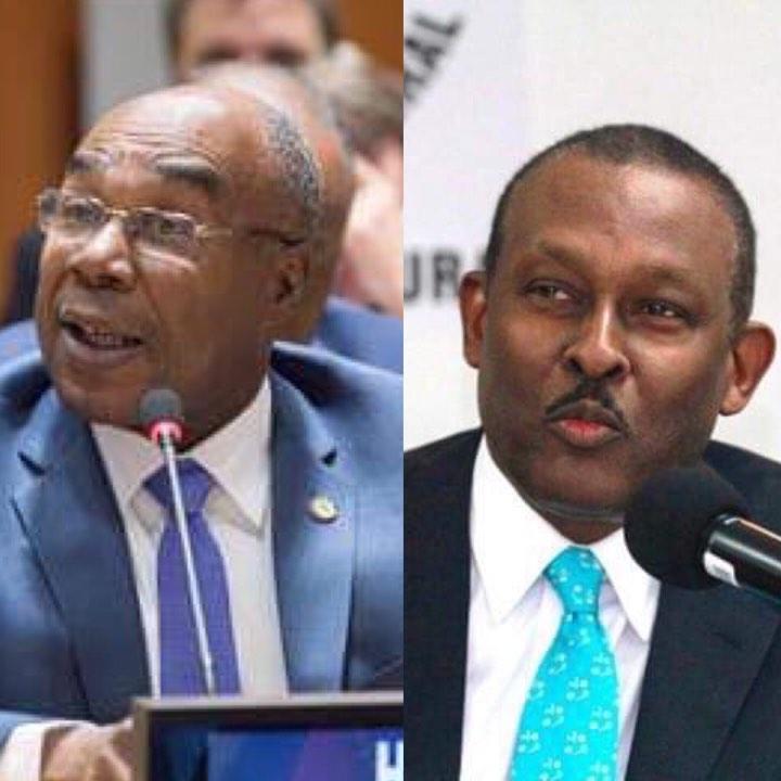 De gch à dte: Denis Regis et Guy Lamothe, les deux ambassadeurs rappelés par le gouvernement haïtien.