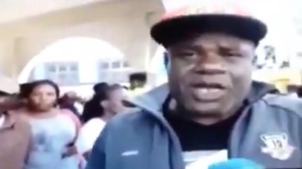 Screen grab of an alleged eyewitness speaking with TVJ News following the shooting of a bus driver by a policeman in Spalding, Clarendon on Tuesday.