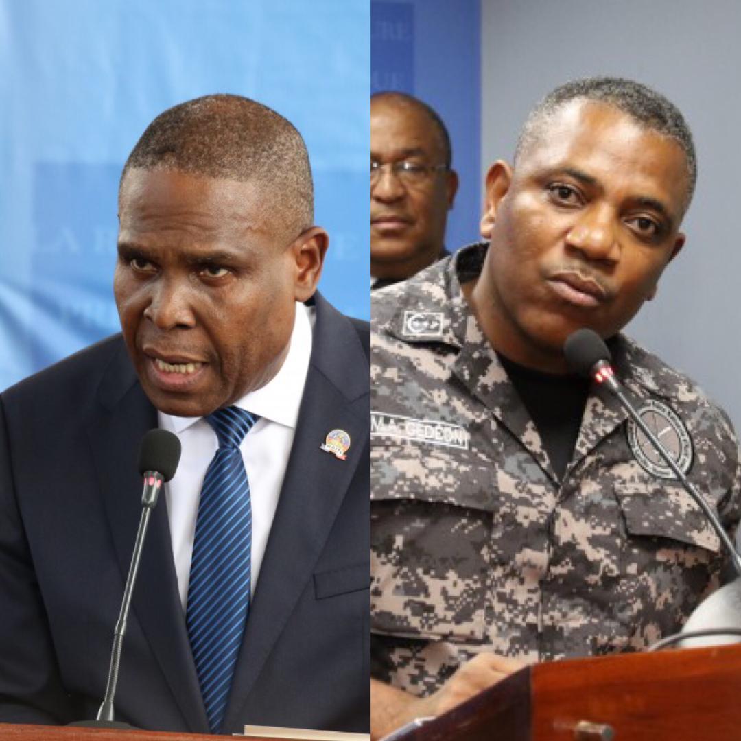 Le Premier ministre Jean-Henry Céant et le Directeur Général de la Police nationale d'Haiti, Michel-Ange Gédéon