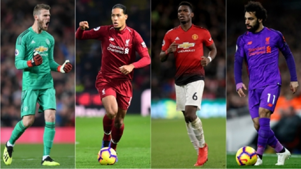 David De Gea, Virgil van Dijk, Paul Pogba and Mohamed Salah headline a combined Manchester United-Liverpool XI.