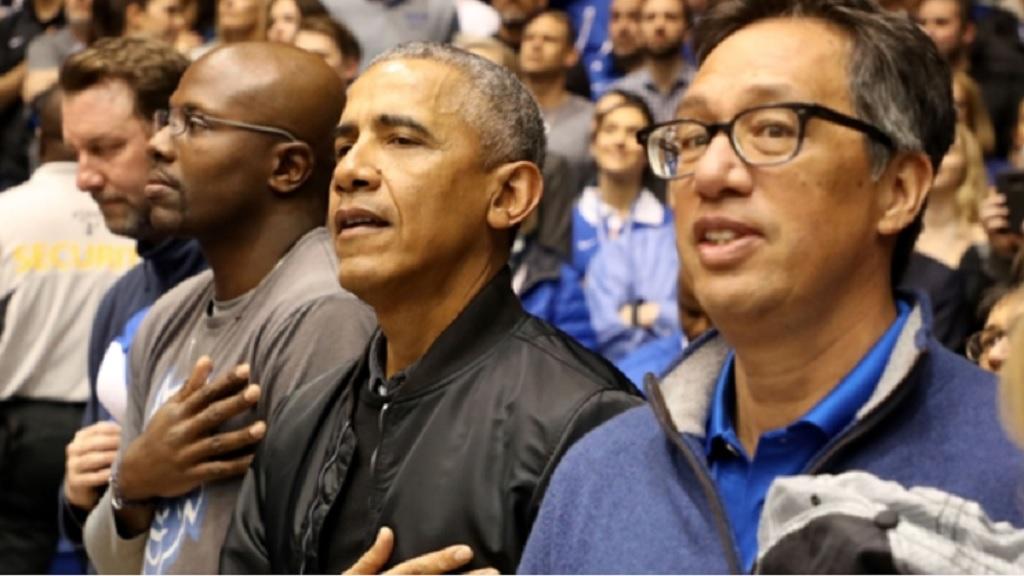 Former President Barack Obama at Cameron Indoor Stadium.