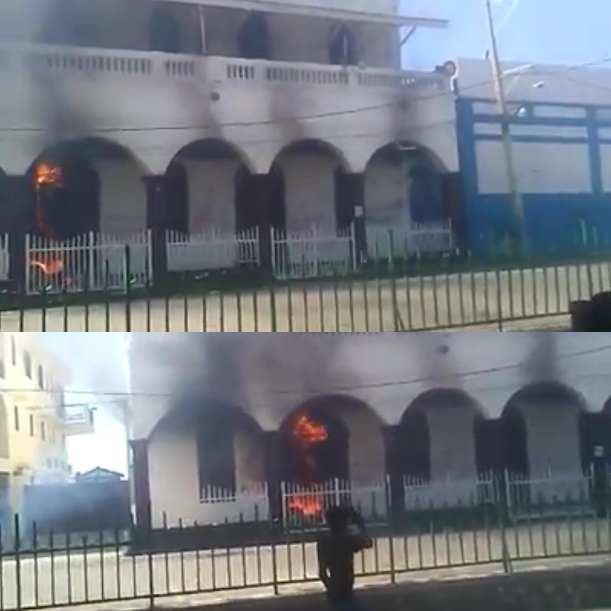 Capture d'écran du début de l'incendie