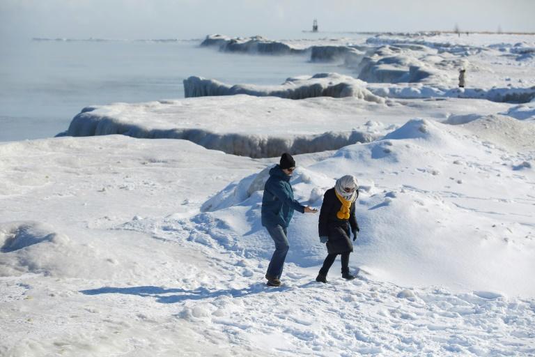 Les rives gelées du lac Michigan, le 30 janvier 2019 à Chicago