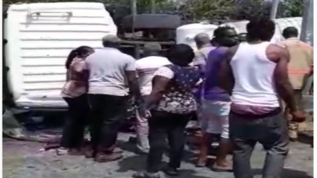 Image: Screengrab taken from video of the aftermath of an accident in Tobago on Monday.
