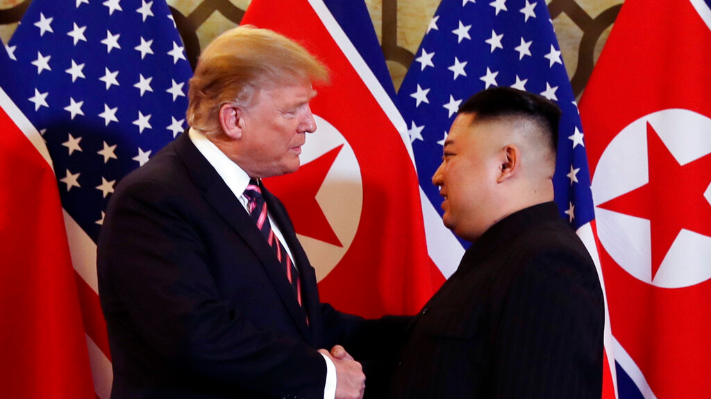 US President Donald Trump (left) with North Korea's Kim Jong Un.