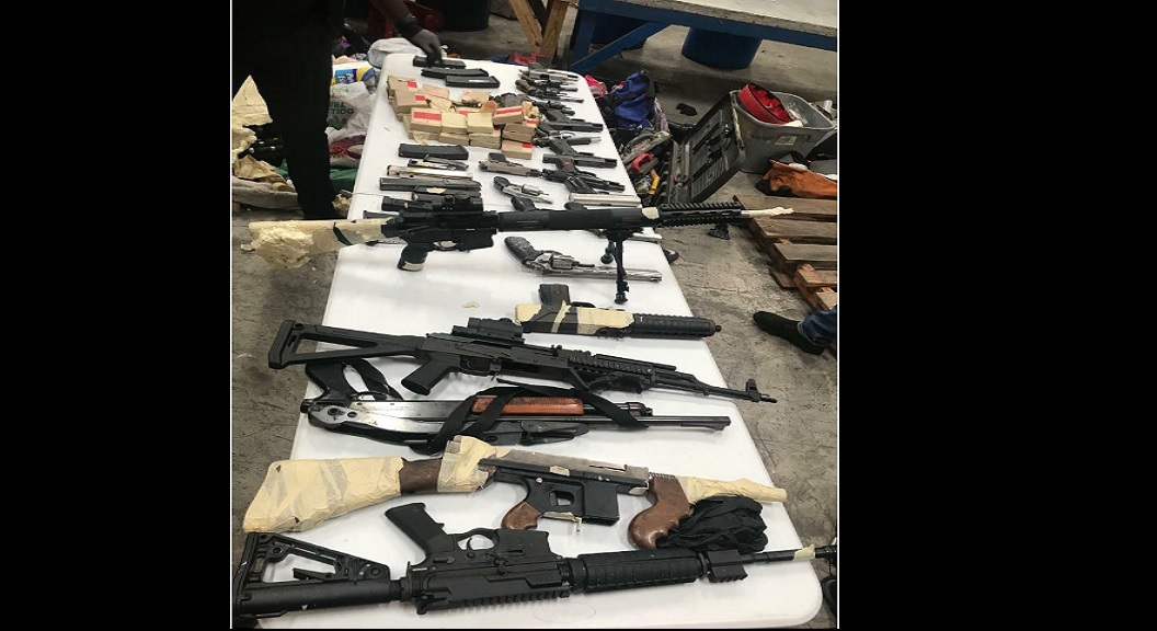 Photo of guns reportedly seized at the Kingston Wharves.