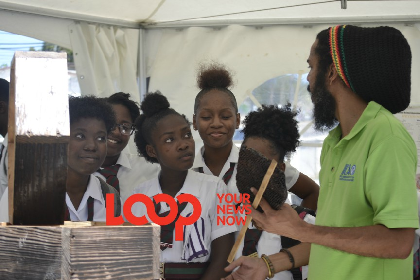 Hinds speaks to some students of the Graydon Sealy Secondary School about beekeeping in Barbados
