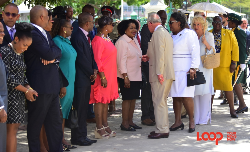 Their Royal Highnesses meeting Barbados' Cabinet ministers.