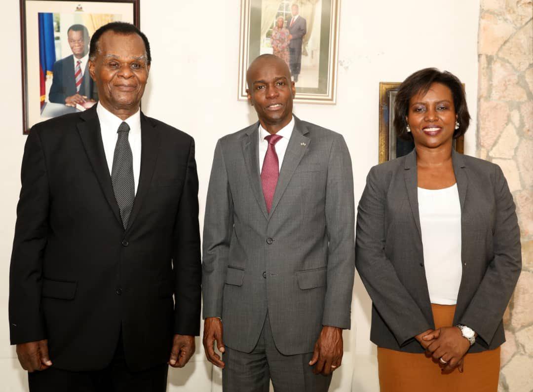 L'ancien président provisoire Boniface Alexandre, le président Jovenel Moise ainsi que la première dame Martine Moise