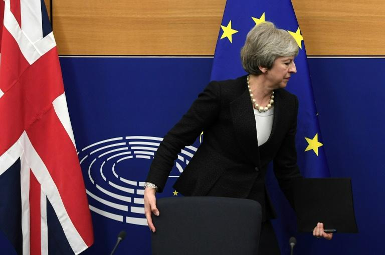 La Première ministre britannique Theresa May, le 11 mars 2019 à Strasbourg