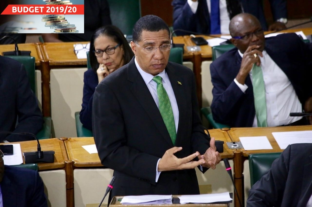 "Prime Minister Andrew Holness made his budget presentation under the theme, ""building a new Jamaica""."