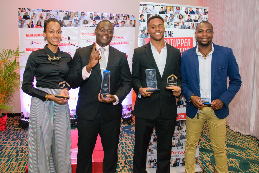 Top awardees of the Total Startupper of the Year Challenge, from left to right:  Brittany Singh-Williams, Jordon Freeman, Yekini Wallen-Bryan and George Henry.