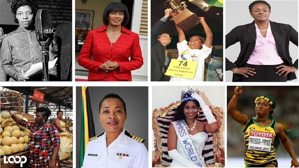 (Clockwise from left) Una Marson; former Prime Minister Portia Simpson Miller; Jody-Anne Maxwell; Sagicor Bank CEO Chorvelle Johnson; Nicola Reid, a Coronation market vendor; Antonette Wemyss-Gorman; Lisa Hanna; and Shelly-Ann Fraser Pryce.
