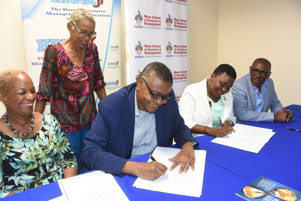 The MOU was signed on last Thursday, at the Mona School of Business and Management, UWI Mona. HRMAJ and UWI have long partnered in a mutually supporting relationship for more than two decades.