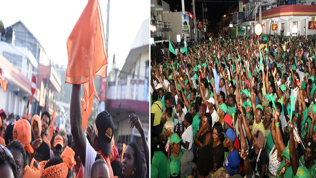 PNP and JLP supporters at separate party meetings in Port Antonio last weekend.