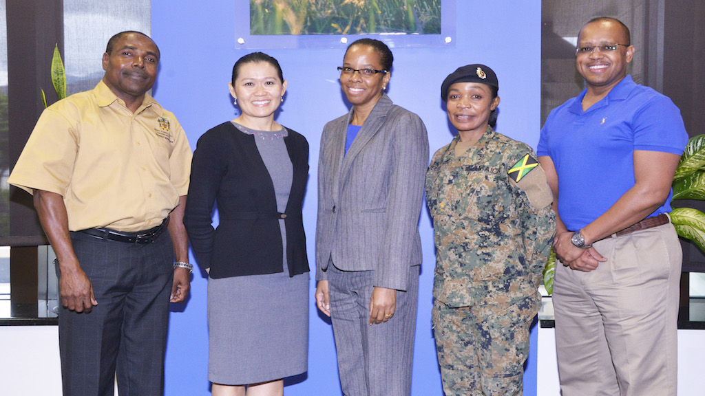 The GHSA contingent from Jamaica (from left) Dr Osbil Watson, Chief Veterinary Officer, MICAF; Commander Douan Kirivong, CDC; Dr Karen Webster Kerr, Chief Epidemiologist, Ministry of Health; Major Petrona Campbell, JDF and Major Baron Mason, US Department of Defense.