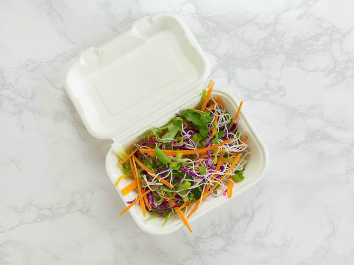 Vegware take-away container with salad (FILE)