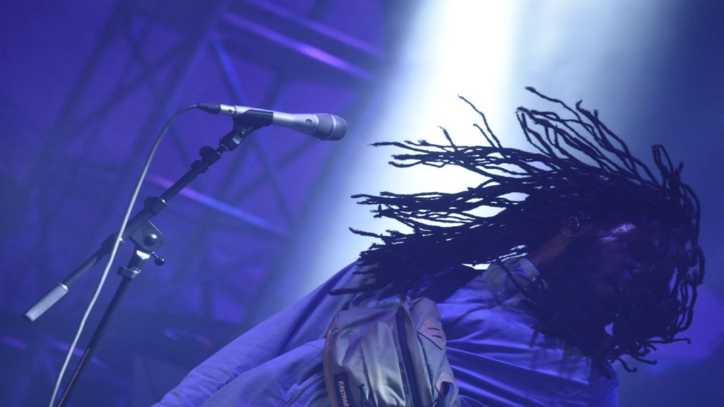 Chronixx flashes his dreadlocks on stage during his performance at the Long Walk to Freedom concert in Jamaica. (PHOTO: Marlon Reid)