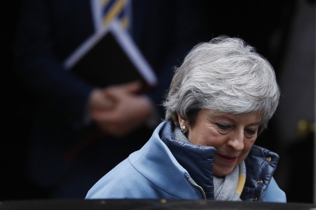 It was a narrower outcome than the historic 230-vote margin of defeat for the agreement in January, before May secured changes from the bloc — but not by much.  (AP Photo)