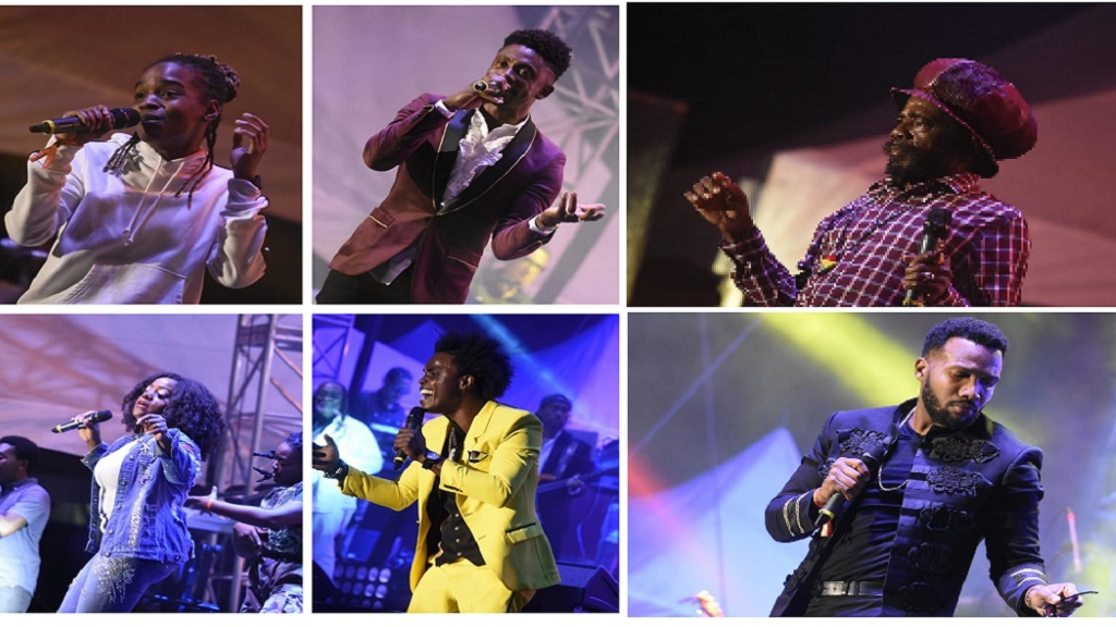 (Clockwise) Koffee, Chris Martin, Cocoa Tee, Etana, Ghost and Agent Sasco perform at the Long Walk to Freedom concert. (Photos; Marlon Reid)