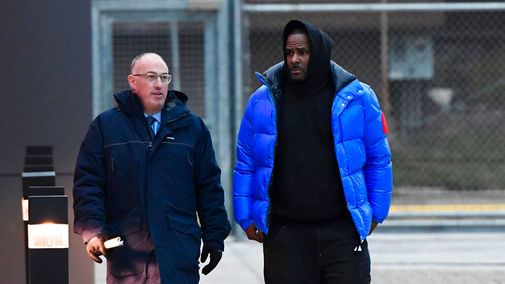 In this Monday, Feb. 25, 2019 file photo, R. Kelly, right, leaves Cook County Jail with his defense attorney, Steve Greenberg, in Chicago. (AP Photo/Matt Marton, File)