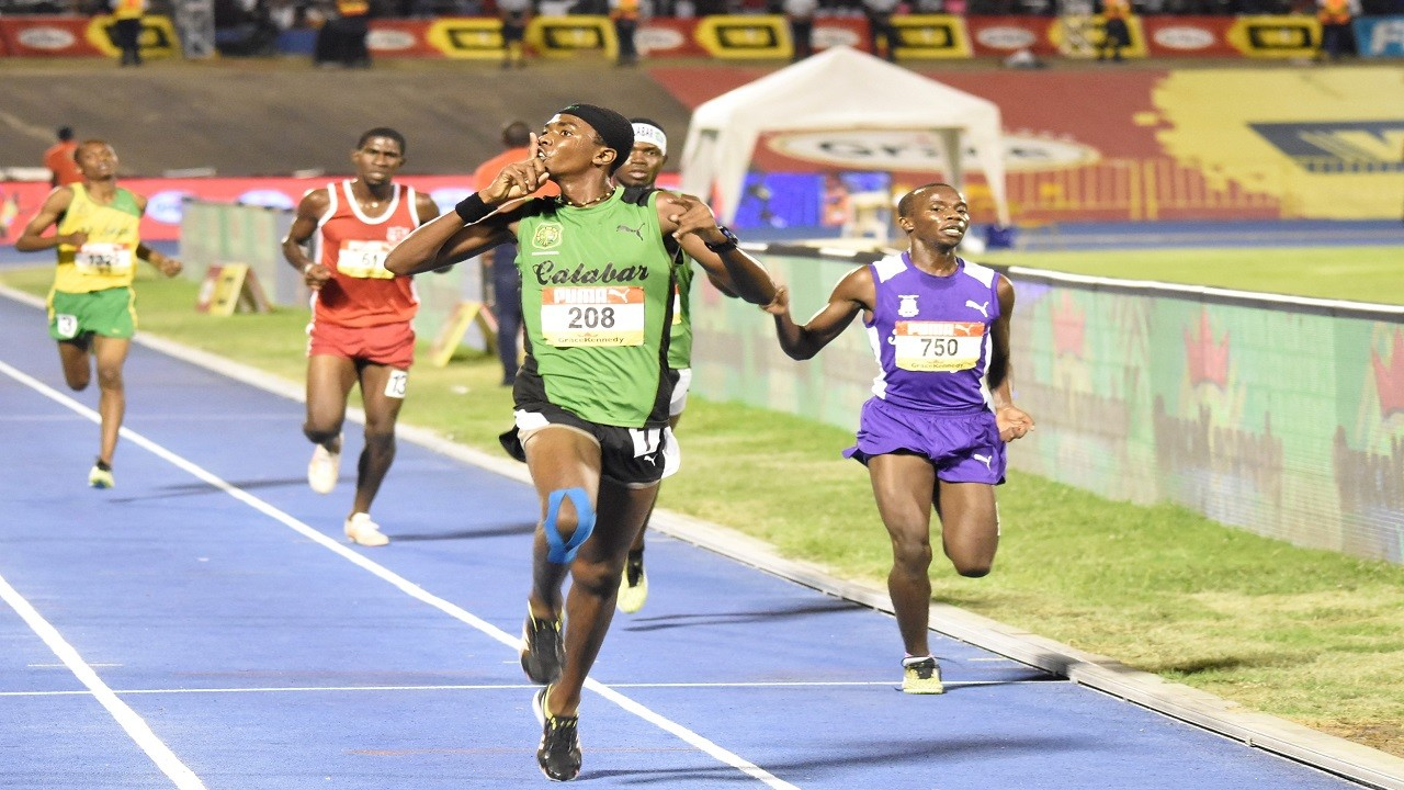 Calabar's Kevroy Venson 'silences' the crowd after upstaging KC's Ari Rodgers in the 1500m at last year's high school athletic championships.