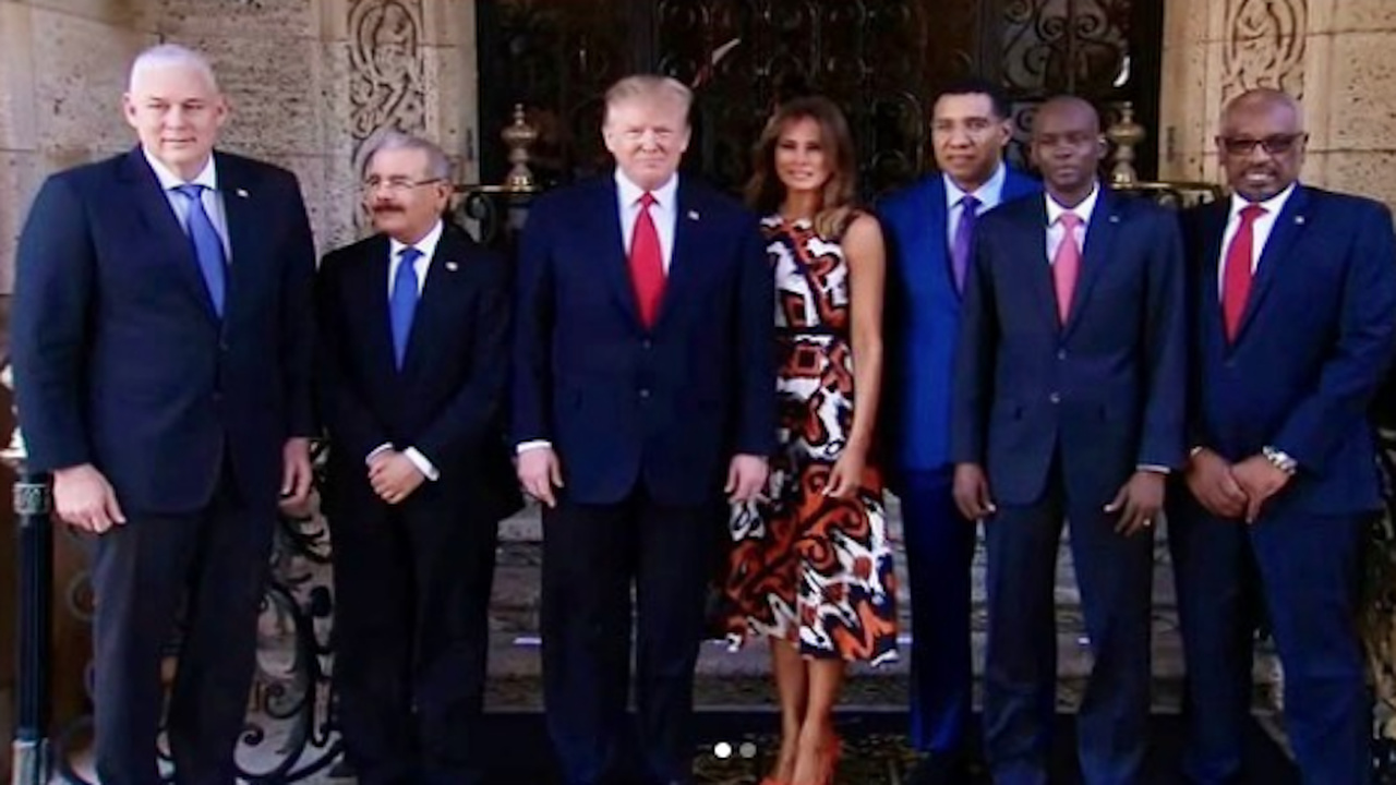US President Donald Trump and his wife Melania (centre) with Caribbean leaders including Jamaican Prime Minister Andrew Holness on Friday at Mar-A-Lago.