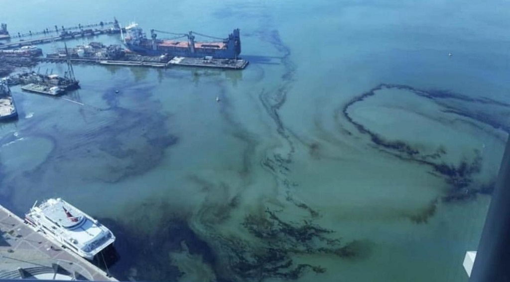 Photo: An oil spill in the Port of Spain harbour shared via social media on March 12, 2019, is under investigation. As of March 14, 2019, the source of the spill had not yet been determined.