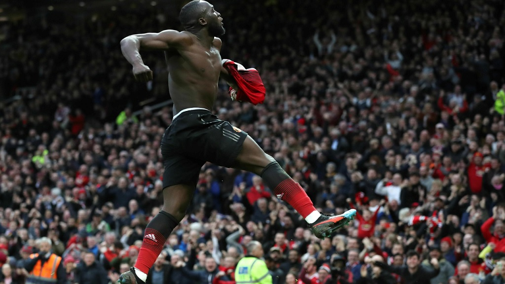 Manchester United's Romelu Lukaku celebrates scoring his side's third goal of the game, during the English Premier League football match against Southampton at Old Trafford, in Manchester, England, Saturday, March 2, 2019.