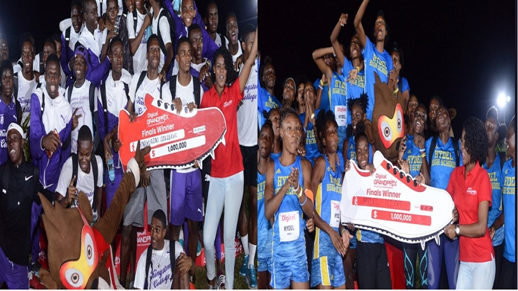 The combination of photos show  athletes from Kingston College (left) and Hydel High displaying their symbolic cheques after the schools won the fifth staging of the Digicel Grand Prix Athletics Championships on Saturday, March 16, 2019 at GC Foster College.