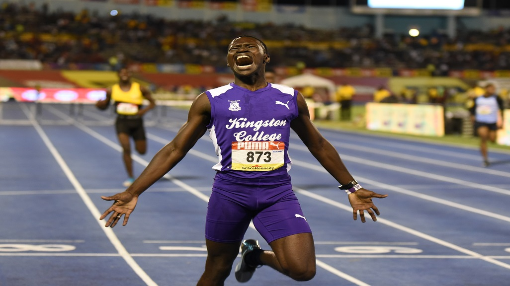 Romel Plummer of KC celebrates after winning the Boys' Class 1 400m hurdles final in 50.43 at the ISSA/GraceKennedy Boys and Girls' Athletics Championships at the National Stadium on Friday, March 29, 2019.