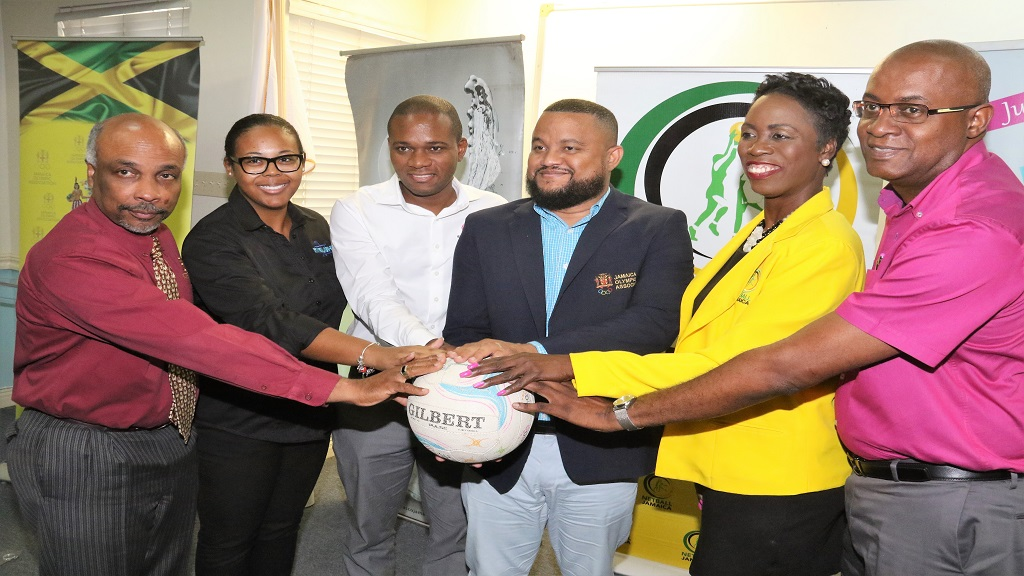 Principals pose for a photo at the sponsorship announcement for Netball Jamaica's Major and Minor Leagues, at Olympic Manor, Jamaica Olympic Association (JOA) headquarters on March 14, 2019. They are (from left) Christopher Samuda, President, JOA; Starlight Productions' Lisa Spence; Omar Palmer, Consumer Distributors Manager, LASCO; Ryan Foster, General Secretary, JOA and Dr. Paula Daley Morris, President, Netball Jamaica and Gary Cole, Marketing Consultant, LASCO.