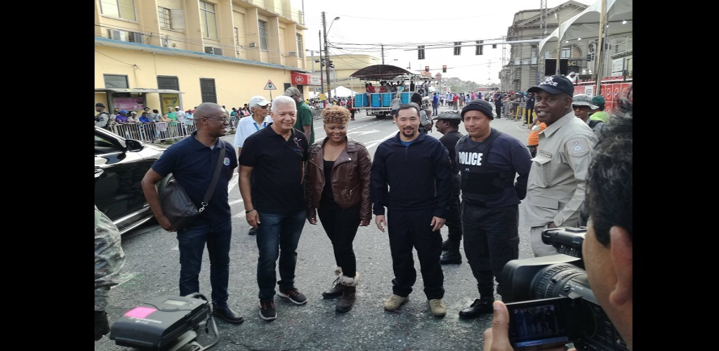 Culture Minister Dr. Nyan Gadsby Dolly, POS Mayor Joel Martinez and Chairman of the Downtown Carnival Committee Wendell Stephens meet up with National Security Minister Stuart Young and CoP Gary Griffith on South Quay during J'ouvert celebrations in Port of Spain.