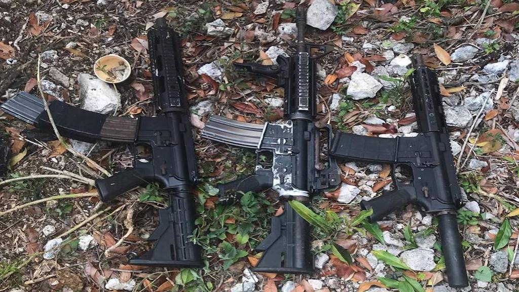 The three rifles that were in found in Salt Spring, St James on Friday. (PHOTO: JCF)