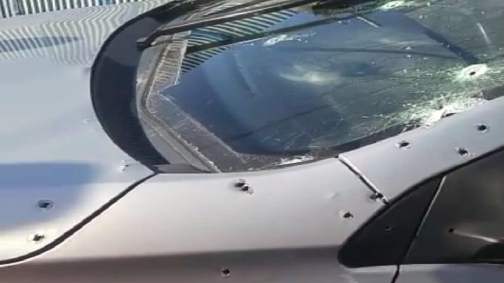 A section of the shot-up Hawkeye Security car in which an officer was killed on Sunday morning in Montego Bay, St James.
