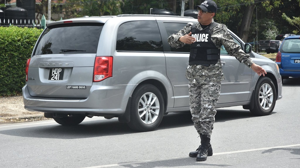 T&T Police Commissioner Gary Griffith directing traffic.