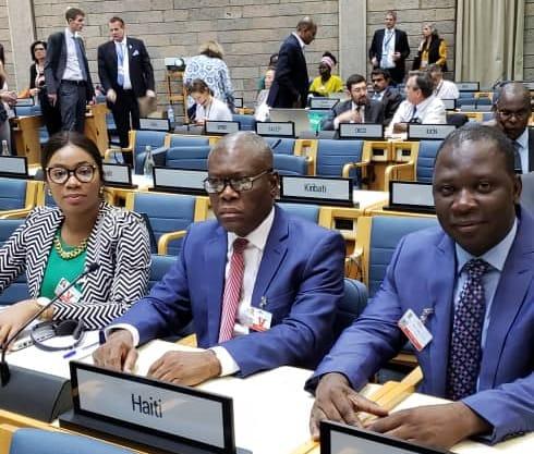 Le ministre haïtien de l'Environnement (au milieu) participant à la 4e session de l'assemblée des Nations-Unies sur l'environnement./Photo: Ministère Environnement.