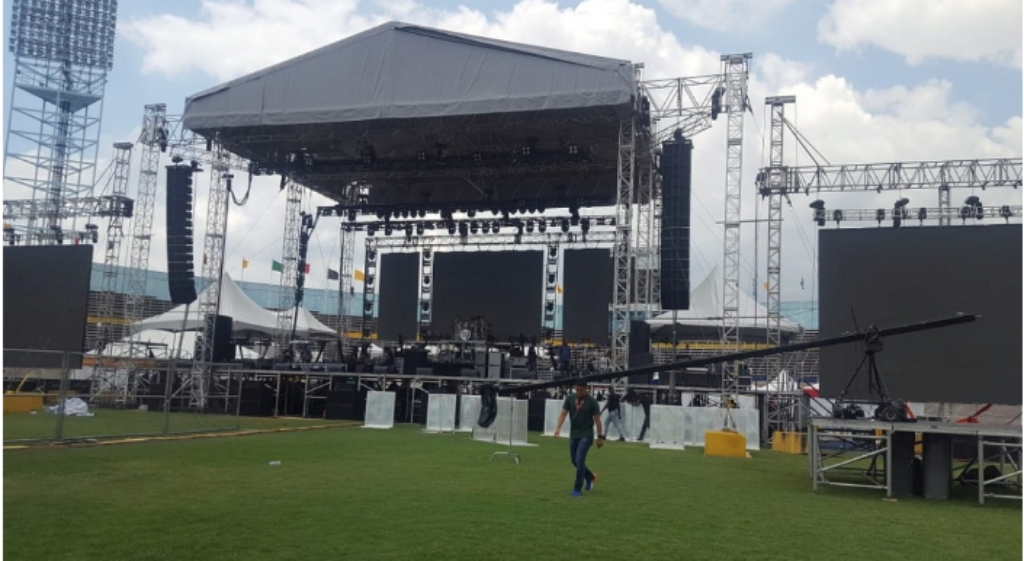 The stage in the National Stadium on which Buju Banton will perform on Saturday at his Long Walk to Freedom concert. (PHOTOS Marlon Reid)