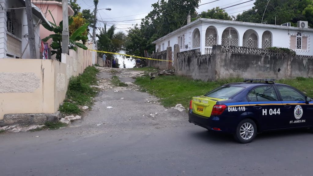 The crime scene in Rose Heights, St James where five people were shot, two fatally.