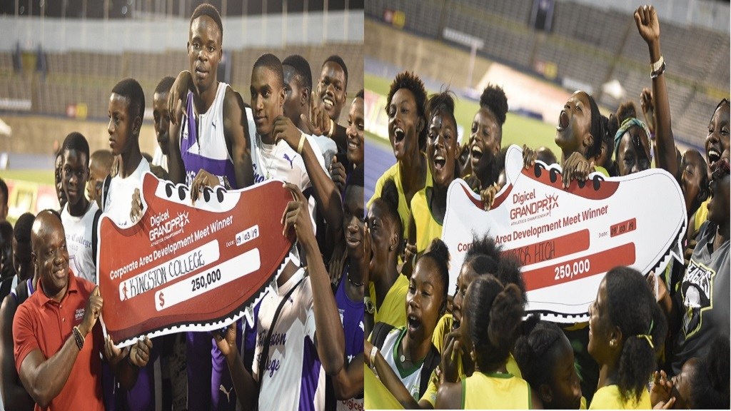 The combination of photos show athletes from Kingston College (left) and Excelsior High posing with their symbolic cheques after the schools won the boys and girls' titles at the Digicel Corporate Area Championships, at the National Stadium on Saturday, March 9, 2019. Digicel regional communications manager Elon Parkinson is at left. (PHOTOS: Marlon Reid).