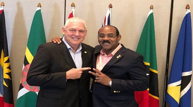 PM Chastanet with Antigua and Barbuda PM Gaston Browne in July 2018