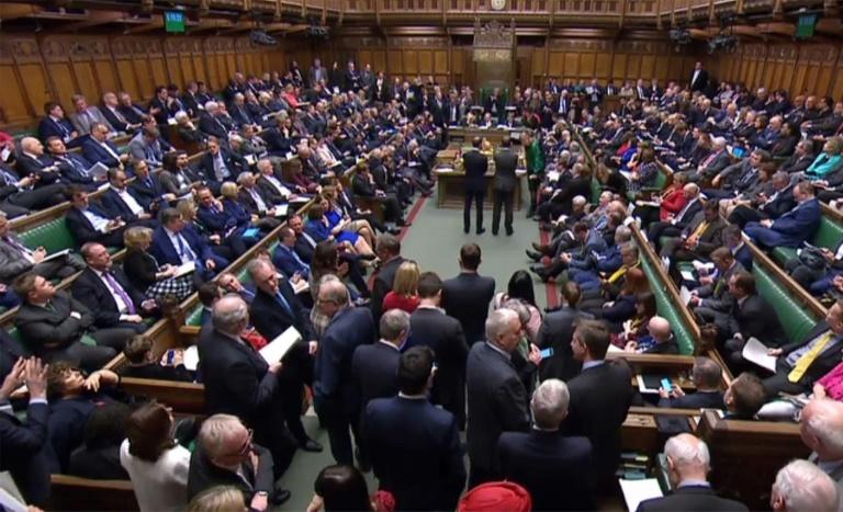 Image extraite d'une vidéo produite par le parlement britannique lors du vote des députés sur le Brexit à Londres le 14 mars 2019