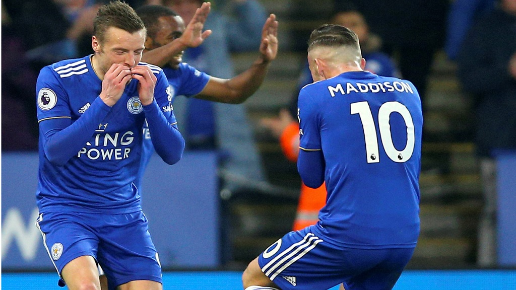 Leicester City's Jamie Vardy, left, celebrates scoring his side's second goal of the game with teammate James Maddison, during the English Premier League football match against Brighton, at the King Power Stadium, in Leicester, England, Tuesday, Feb. 26, 2019.