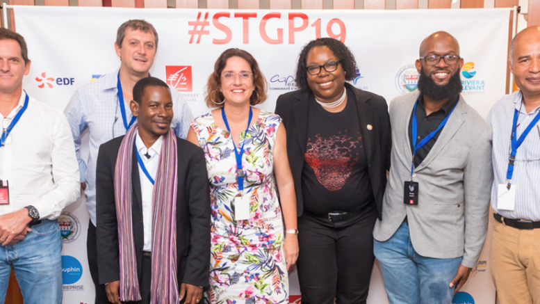 From left, Frédéric Hayot, SFR; Pascal Boudin, Guadeloupe Data Centre; Xavier VERTON, GuadeloupeTech; Eve Riboud, Dauphin Telecom; Betty Fausta, GuadeloupeTech; Kevon Swift, LACNIC; Philippe Roquelaure, Orange Caraïbe, after the signing of the Guadeloupe IXP memorandum of understanding, at the sixth annual edition of Startup Guadeloupe, held at Karibea Hotel, Le Gosier on March 23. Photos courtesy GuadeloupeTech.