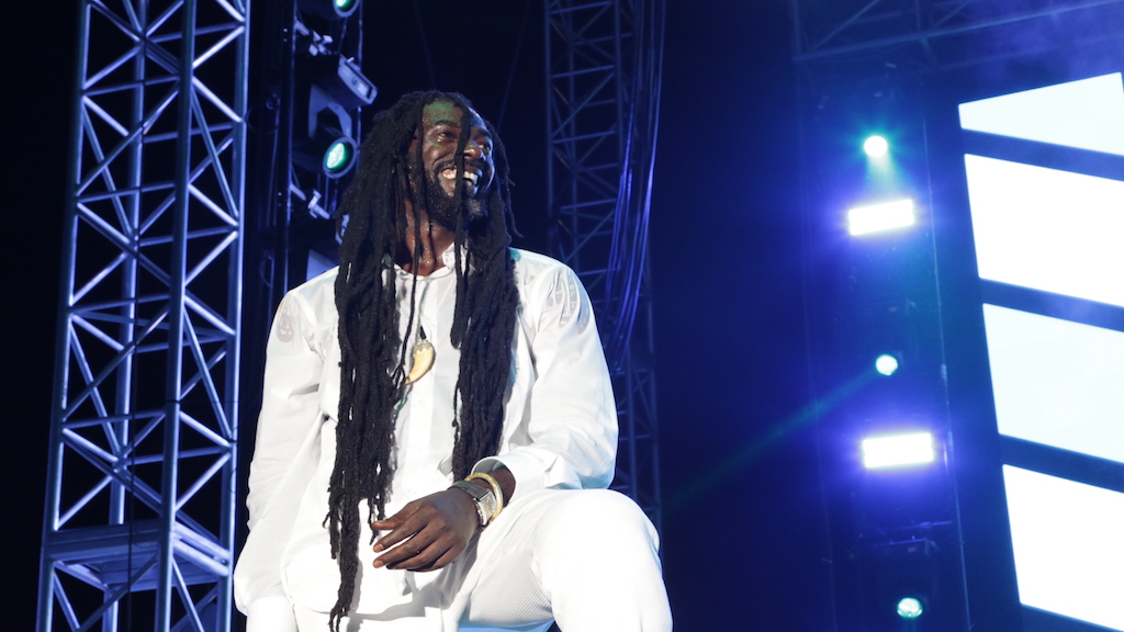 Buju Banton on stage during his performance at the Long Walk to Freedom concert at the National Stadium in Kingston on Saturday. (PHOTO: Ramon Lindsay)